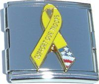 CT5008 Support Our Troops Ribbon Mega Italian Charm