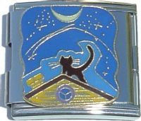CT5027 Cat on Roof with Moon Mega Italian Charm