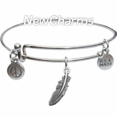 Bangle Bracelet with JT119 Silver Feather
