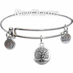 Bangle Bracelet with JT140 Silver Tree Of Life