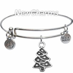 Bangle Bracelet with JT149 Silver Christmas Tree
