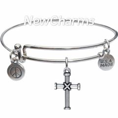 Bangle Bracelet with JT205 Silver Wrapped Cross