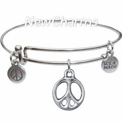 Bangle Bracelet with JT231 Silver Open Peace Sign