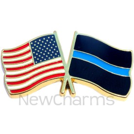 P504 Pin USA Flag with Thin Blue Line Flag