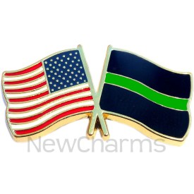 P507 Pin USA Flag with Thin Green Line Flag