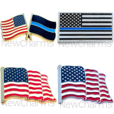 P501 Pin Thin Blue Line USA Flag