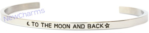 CB112 To the Moon and Back Cuff Bangle Bracelet