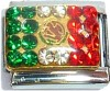 CT1825 Flag of Mexico with Stones Italian Charm
