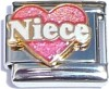 CT1974NK Niece on Pink Heart CT1974NW Niece on Pink Heart White Text Italian Charm