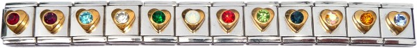 13mmHY1049set - Set of 12 Heart Birthstone Charms