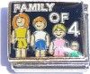 CT9092 Family of 4 on Black Italian Charm