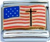 USA Flag Waving with Cross Italian Charm