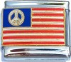 USA Flag with Peace Sign Italian Charm