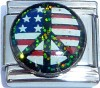 USA Flag in Peace Sign with Glitter Italian Charm