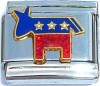 USA Democratic Donkey with GlitterItalian Charm