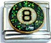 Eight Ball with Glitter Italian Charm
