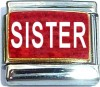 Sister on Red with Glitter Italian Charm