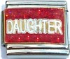 Daughter on Red with Glitter Italian Charm