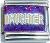 Daughter on Purple with Glitter Italian Charm