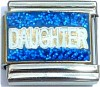 Daughter on Blue with Glitter Italian Charm