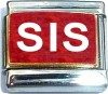 Sis on Red with Glitter Italian Charm