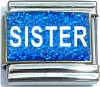 Sister on Blue with Glitter Italian Charm