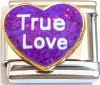True Love on Purple Heart with Glitter Italian Charm