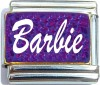 Barbie on Purple with Glitter Italian Charm