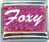 Foxy on Pink with Glitter Italian Charm
