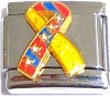 Ribbon Yellow + Red and Blue Italian Charm
