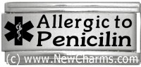 Allergic to Penicilin Medical Alert Italian Charm