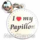 JR183 I Love My Papillion ORing Charm
