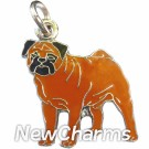 JR184 Pug Brown O-Ring Charm