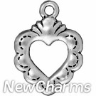 JT157 O-Ring Dangle Silver Open Heart