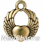 JT160 Gold Winged Heart O-Ring Charm