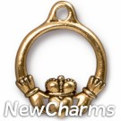 JT162 Gold Claddagh Heart O-Ring Charm