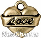 JT202 Gold Love Heart O-Ring Charm