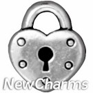 JT207 Silver Heart Lock O-Ring Charm