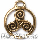 JT224 Gold Celtic Triskele O-Ring Charm