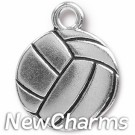 JT316 Silver Volleyball O-Ring Charm