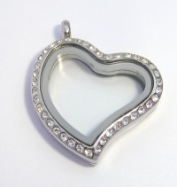 AX107 Curvy Heart CZ Locket Silver with Necklace
