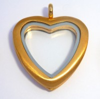 AX109 Big Heart Locket Brushed Gold with Necklace