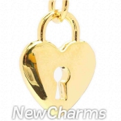 CH103 Shiny Gold Heart Lock Dangle