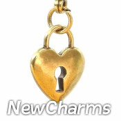 CH402 Gold Heart Lock Dangle