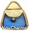 H1019bluegold Blue Purse On Gold Floating Locket Charm