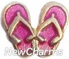 H1026G Flip Flop Gold Trim Floating Locket Charm