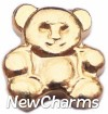 H1038 Gold Teddy Bear Floating Locket Charm