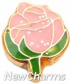 H1131 Gold Pink Rose Floating Locket Charm