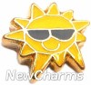 H1136 Sun With Sunglasses Floating Locket Charm