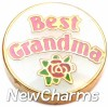 H1144 Best Grandma with Rose Floating Locket Charm